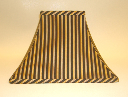 Black Gold Bronze Striped Bell Square Lampshade