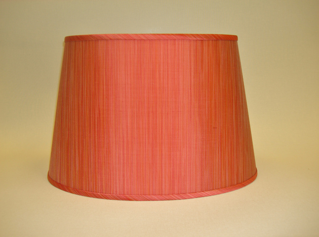 coral striped silk oval lampshade. Black Bedroom Furniture Sets. Home Design Ideas