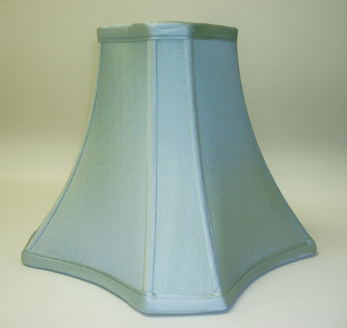 The Lampshade Gallery San Go California Light Blue Dupioni Silk Fancy Bell Square